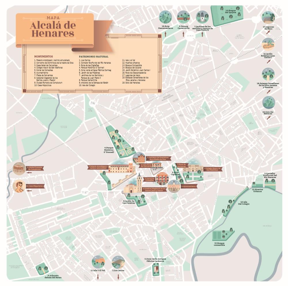 Mapa Alcala De Henares.Nuevo Plano Guia Del Patrimonio Natural De Alcala De Henares